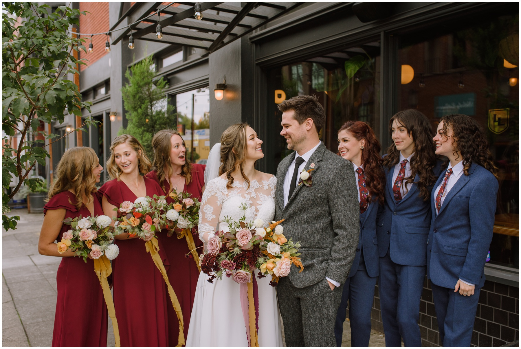 Bridal party at the evergreen wedding in portland